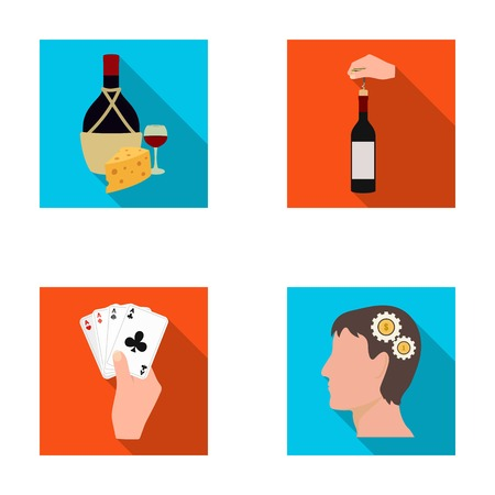 combination: Bottle, a glass of wine and cheese, clogging with a corkscrew and other web icon in flat style. A combination of cards in hand, a persons head and an idea generator icons in set collection. Illustration