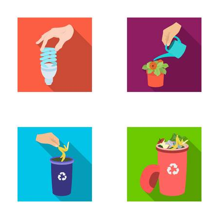 Energy-saving light bulb, watering a houseplant and other web icon in flat style. garbage can with waste and garbage icons in set collection.