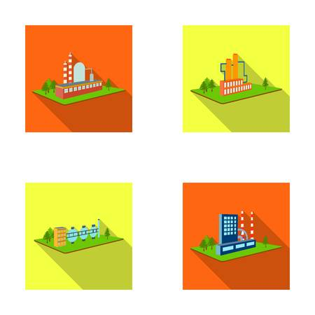 Processing factory, metallurgical plant. Factory and industry set collection icons in flat style isometric vector symbol stock illustration web. Фото со стока - 87063110