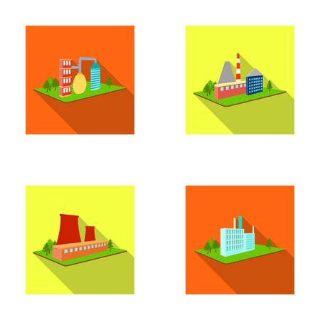Processing factory, metallurgical plant. Factory and industry set collection icons in flat style isometric vector symbol stock illustration web. Иллюстрация