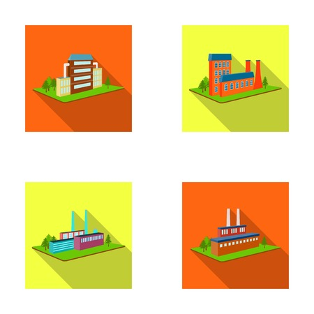Processing factory, metallurgical plant. Factory and industry set collection icons in flat style isometric vector symbol stock illustration web. Фото со стока - 87063112