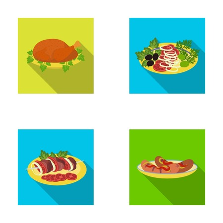 Fried chicken, vegetable salad, shish kebab with vegetables, fried sausages on a plate. Food and Cooking set collection icons in flat style vector symbol stock illustration . Ilustrace