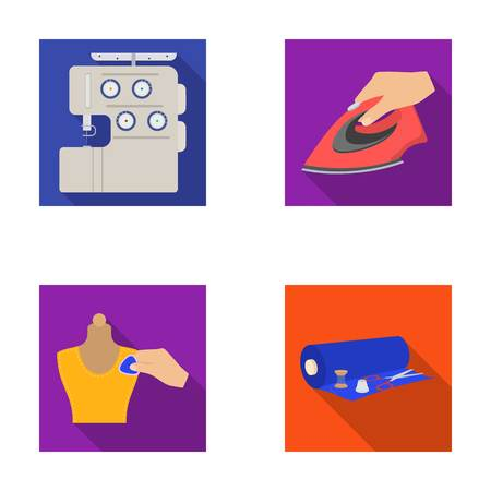 Electric sewing machine, iron for ironing, marking with chalk clothes, roll of fabric and other equipment. Sewing and equipment set collection icons in flat style vector symbol stock illustration web. Illustration