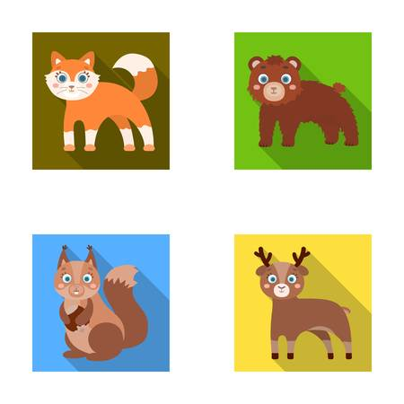 Zoo, nature, reserve and other web icon in flat style.Artiodactyl, nature, ecology, icons in set collection.