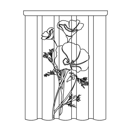 Curtains, single icon in outline style.Curtains vector symbol stock illustration . Иллюстрация