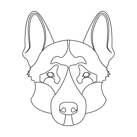 Dog breed, German Shepherd.Muzzle of the German Shepherd single icon in outline style vector symbol stock illustration web. Illustration
