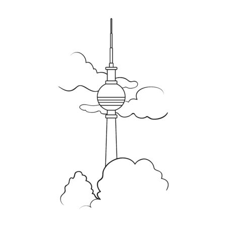 Tower, single icon in outline style.Tower, vector symbol stock illustration web.
