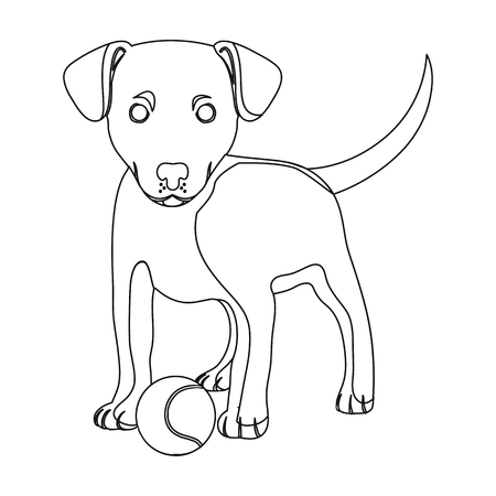 Pet, puppy dog with a ball. Pet,dog care single icon in outline style vector symbol stock illustration web.