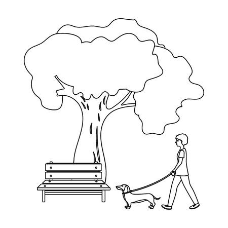Boom en bank, vrouw loopt een huisdier in het park. Huisdier, hond zorg één pictogram in de omtrek stijl vector symbool stock illustratie.