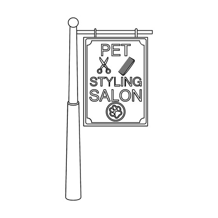 Stylish salon for a pet, a sign on a street post, Pet care single icon in outline style vector symbol stock illustration .