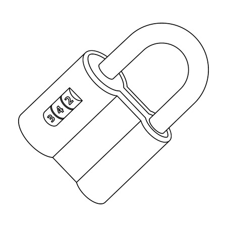 combination: Door lock. Code lock single icon in outline style vector symbol stock illustration .