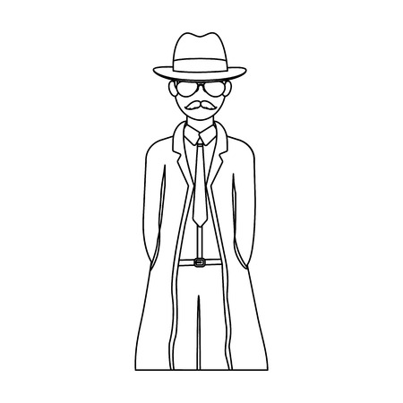 Appearance of the detective. Man detective in a hat and raincoat single icon in outline style vector symbol stock illustration .