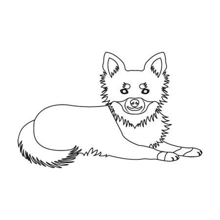 ペット、横たわっている犬。ペット、ドッグケアシングルアイコンアウトラインスタイルベクターシンボルストックイラスト。  イラスト・ベクター素材