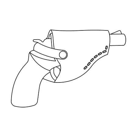 Pistol in the holster, firearms. Pistol detective single icon in outline style vector symbol stock illustration . Illustration