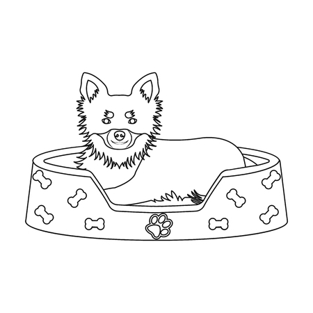 Lounger for a pet, a sleeping place. Dog,care of a pet single icon in outline style vector symbol stock illustration .