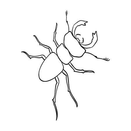 Beetle, arthropodous insect. A beetle with claws single icon in outline style vector symbol stock isometric illustration . Çizim
