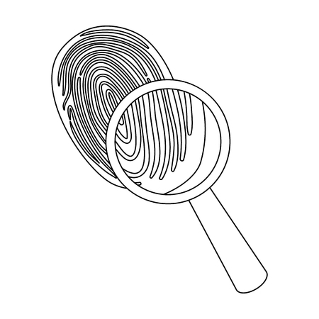 Investigation by fingerprint magnifier, crime. Loupe is a detective tool, single icon in outline style vector symbol stock illustration . Illustration