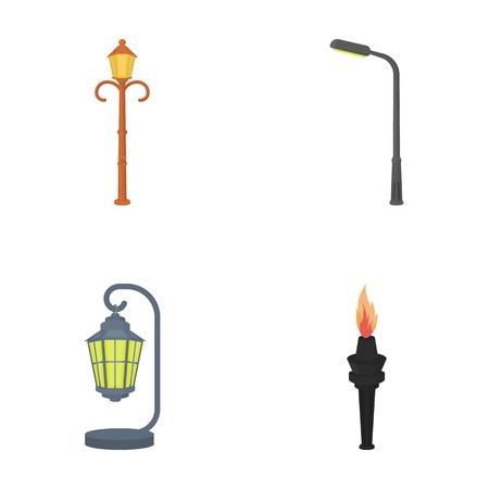 plafond: Lamppost in retro style,modern lantern, torch and other types of streetlights. Lamppost set collection icons in cartoon style vector symbol stock illustration .