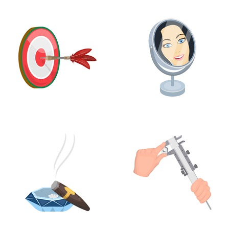 Game Darts, reflection in the mirror and other  icon in cartoon style. Cigar in ashtray, calipers in hands icons in set collection.