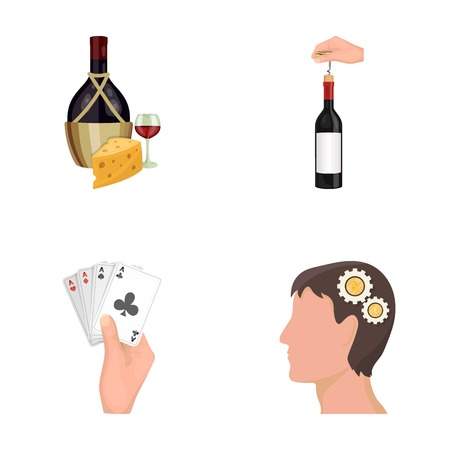 combination: Bottle, a glass of wine and cheese, clogging with a corkscrew and other  icon in cartoon style. A combination of cards in hand, a persons head and an idea generator icons in set collection.