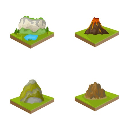 crater lake: Mountains, rocks and landscape. Relief and mountains set collection icons in cartoon style isometric vector symbol stock illustration .
