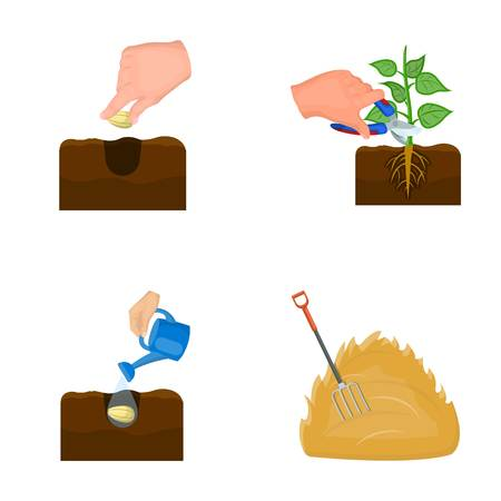 Garden, ecology, farmingand other  icon in cartoon style. Feed, plot, farm,icons in set collection.