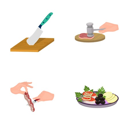 blade: Cutlass on a cutting board, hammer for chops, cooking bacon, eating fish and vegetables. Eating and cooking set collection icons in cartoon style vector symbol stock illustration .