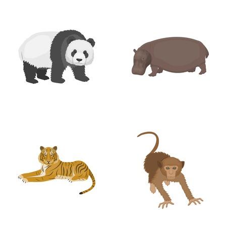 Bamboo bear, hippopotamus, wild animal tiger, monkey . Wild animal set collection icons in cartoon style vector symbol stock illustration . Illustration