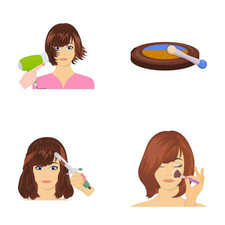 brown haired girl: Salon, care, hygiene and other  icon in cartoon style. Hands, hairdresser, beauty, icons in set collection.