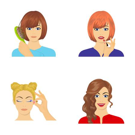 Hairdresser, cosmetic, salon, and other  icon in cartoon style.Means, hygiene, care icons in set collection