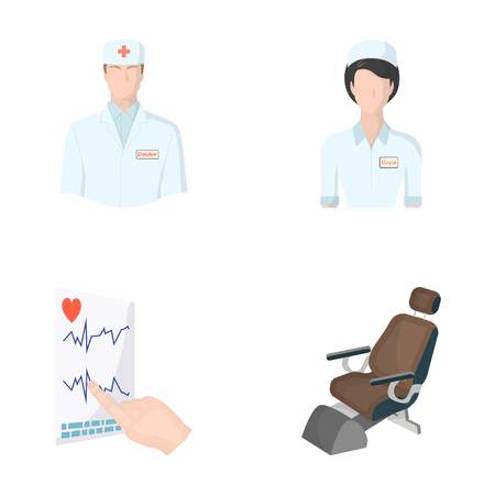 attending: The attending physician, the nurse, the cardiogram of the heart, the dental chair. Medicineset collection icons in cartoon style vector symbol stock illustration .