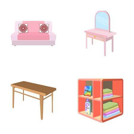 Soft sofa, toilet make-up table, dining table, shelving for laundry and detergent. Furniture and interior set collection icons in cartoon style isometric vector symbol stock illustration . Illustration