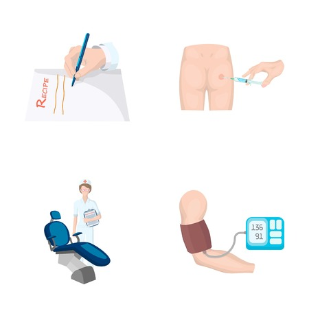 Intramuscular injection, prescription, Dentist, blood pressure measurement. Medicineset collection icons in cartoon style vector symbol stock illustration . Illustration