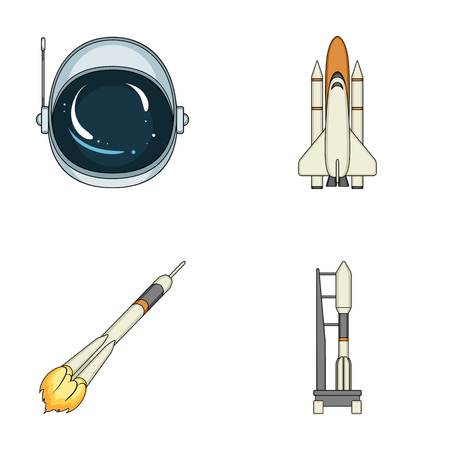 A spaceship in space, a cargo shuttle, A launch pad, an astronauts helmet. Space technology set collection icons in cartoon style vector symbol stock illustration .