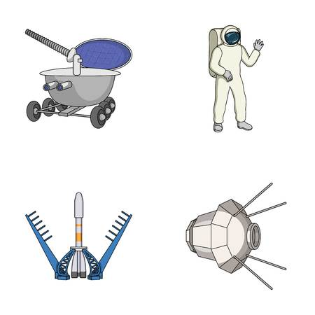 Lunokhod, space suit, rocket launch, artificial Earth satellite. Space technology set collection icons in cartoon style vector symbol stock illustration .