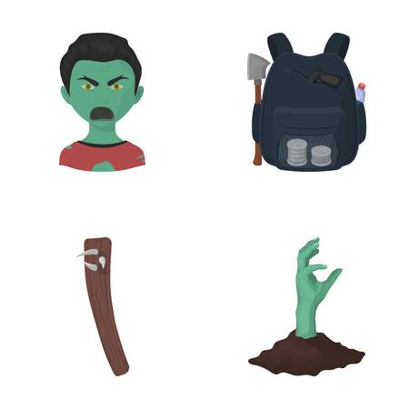 Zombies, man, mouth, and other  icon in cartoon style.Clothes, holes, rotten icons in set collection Illustration
