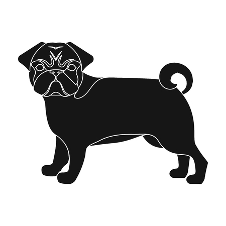 hounds: Bulldog, single icon in black style.Bulldog, vector symbol stock illustration .