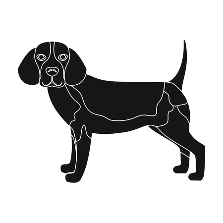 hounds: Beagle,single icon in black style.Beagle, vector symbol stock illustration .
