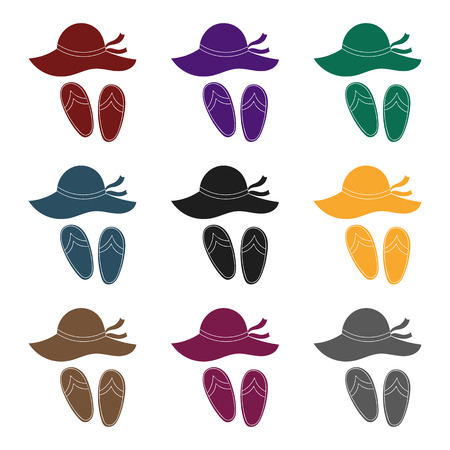 flip flops: Beach hat with flip-flops icon in black design isolated on white background. Family holiday symbol stock vector illustration. Illustration