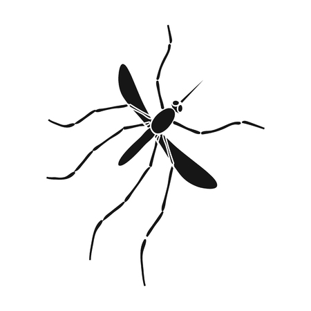 Mosquito, Dipterous insect. Bloodsucking insect, mosquito single icon in black style vector symbol stock isometric illustration . Çizim