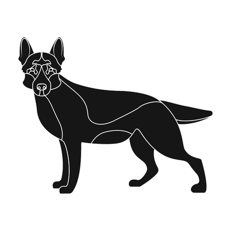 hounds: Shepherd single icon in black style. Dog, vector symbol stock illustration .