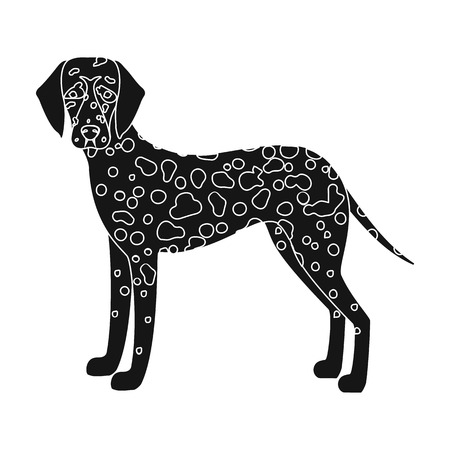 hounds: Dalmatian, single icon in black style.Dalmatian vector symbol stock illustration . Illustration