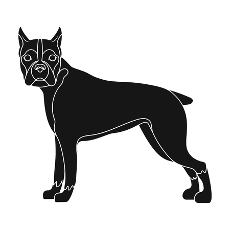 hounds: Boxer, single icon in black style.Boxer, vector symbol stock illustration .