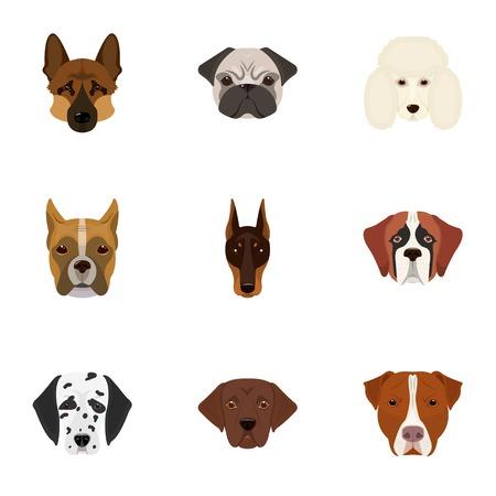 Doberman, Dalmatiër, Tekkel, Spitz, Stafford en andere rassen van honden. Snuit van het ras van honden vastgestelde inzamelingspictogrammen in illustratie van de het symboolvoorraad van de beeldverhaalstijl de vector.