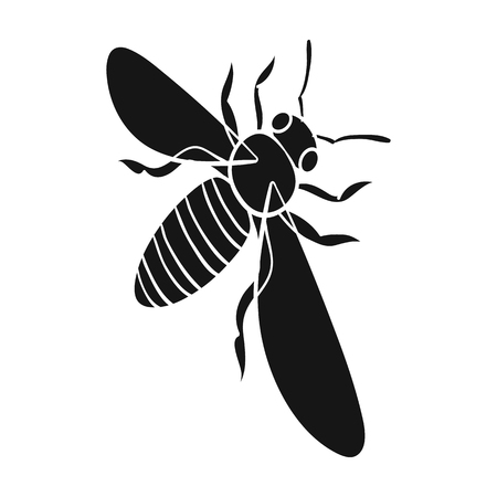 A bee, a hymenopteran insect. Stinging insect bee single icon in black style vector symbol stock isometric illustration .