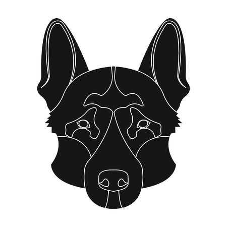 Dog breed, German Shepherd.Muzzle of the German Shepherd single icon in black style vector symbol stock illustration .