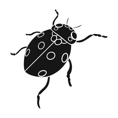 Ladybug is an arthropod.The insect ladybug single icon in black style vector symbol stock isometric illustration .