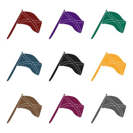 british culture: Scotland flag on a wooden stick.The Scottish national flag.Scotland single icon in black style vector symbol stock  illustration. Illustration