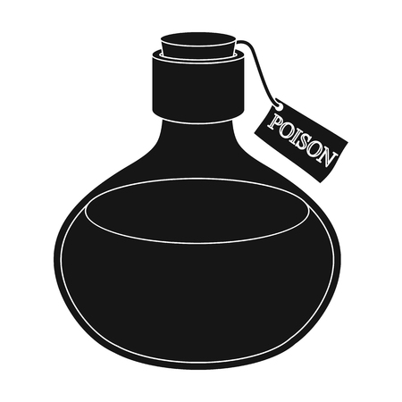The poison is in a vessel with a label. Poisoned liquid single icon in black style vector symbol stock illustration .