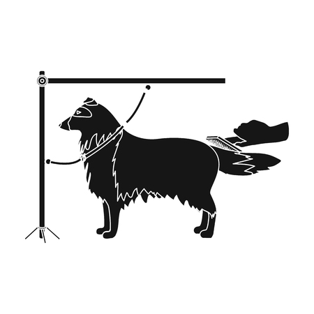 Combing a pets fur, a dog in a stylish salon. Pet ,dog care single icon in black style vector symbol stock illustration . Illustration